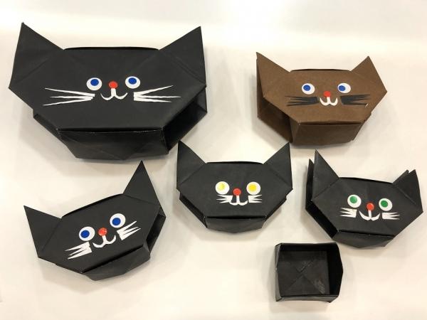 【高松本校】1Day:実用折り紙教室 ~盆灯篭×2+箱=猫のお菓子入れ~ 21/10/8